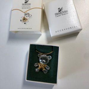 Crystal Bear Charm Necklace Swarovski